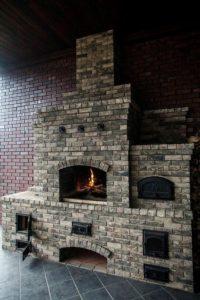 Печной комплекс с мини-русской печью, мангалом и плитой под казан
