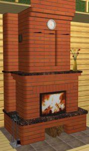 Кирпичный теплоёмкий камин